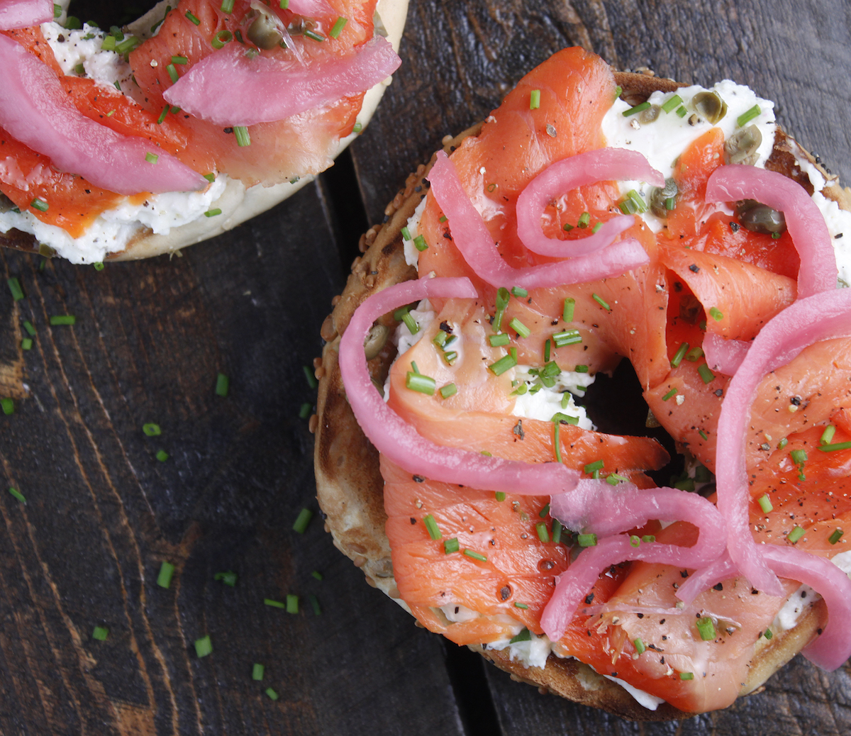 Lox and Bagel made with Haliburton Pickled Red Onions
