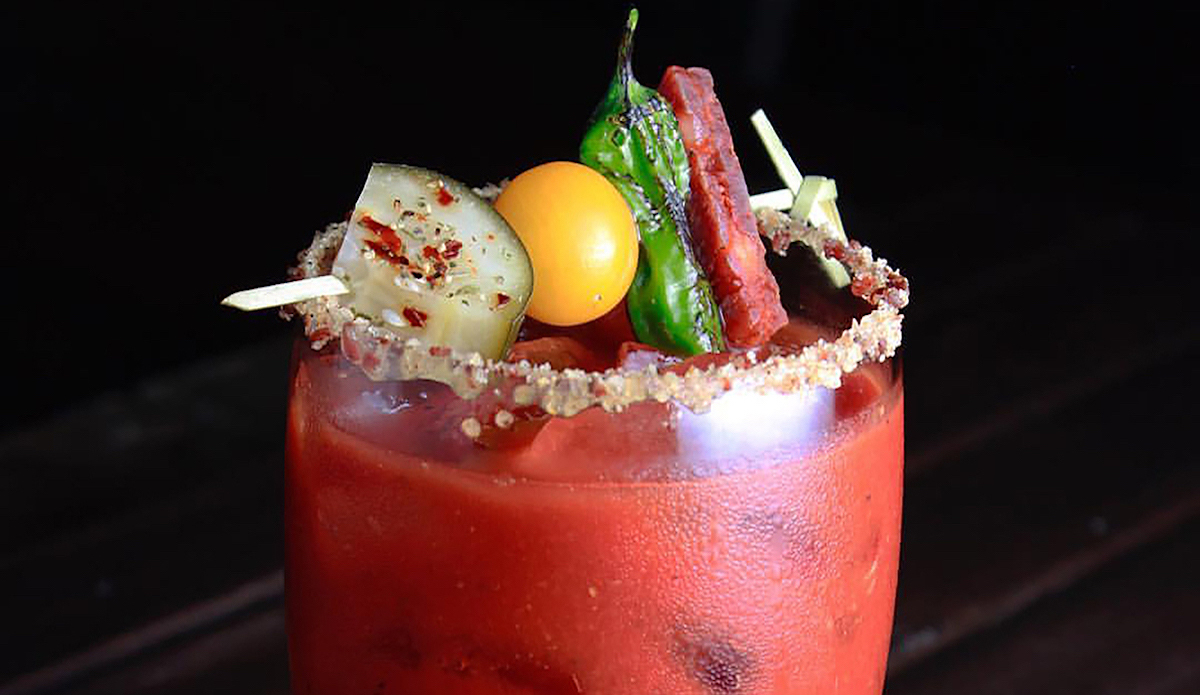 Haliburton Smoked California Chile Bloody Mary Mix, featuring Spicy Pickles and Fire-Roasted Shishito Pepper