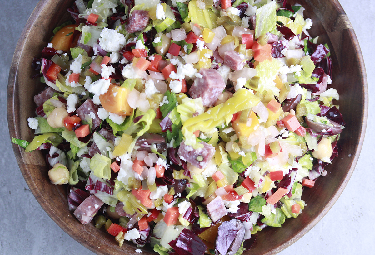 Mediterranean Chopped Salad featuring Haliburton Individually Quick Frozen Chickpeas
