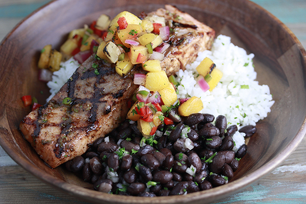Jamaican Jerk Salmon featuring Haliburton Individually Quick Frozen Black beans