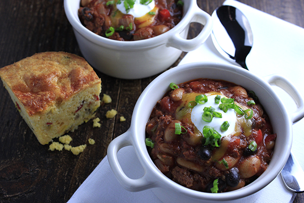 Hearty Three Bean Chili featuring Haliburton Individually Quick Frozen Black, Kidney and Pinto Beans