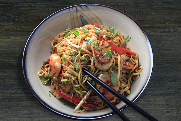 Wok-Fried Ramen Seafood Bowl featuring Haliburton Southeast Asian Chile Garlic Sauce